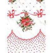 Postelná súprava biela ružové kvety s bodkami