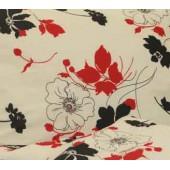 Postelná súprava biela červené a čierne kvety